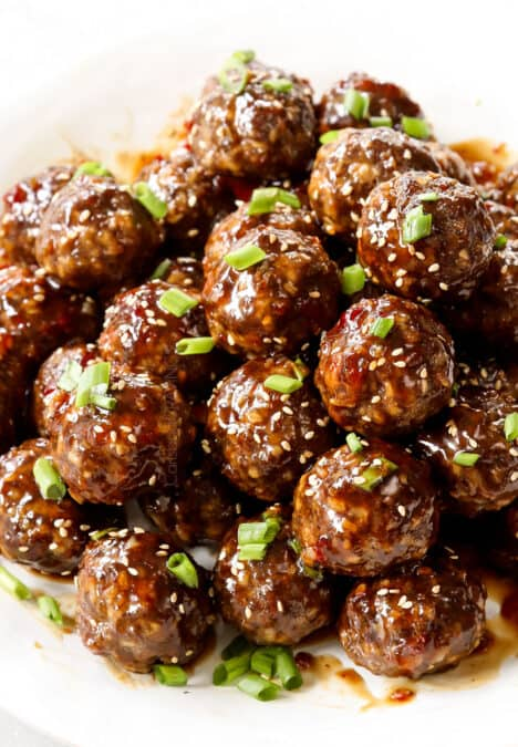 up close of teriyaki meatball recipe showing how juicy they are