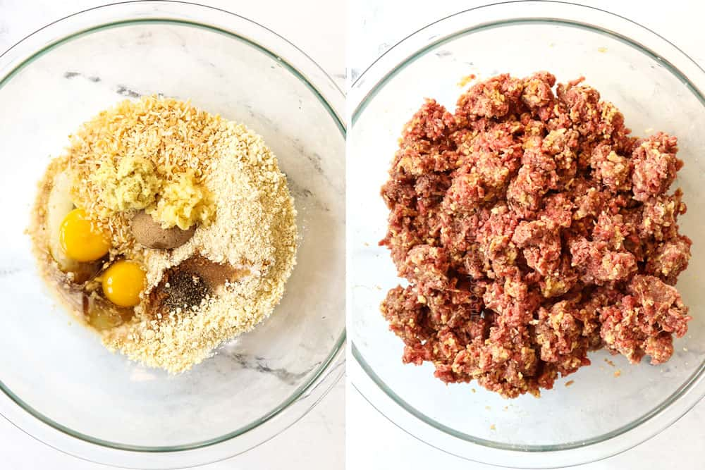 a collage showing how to make teriyaki meatball recipe by adding eggs, crumbs, milk, soy sauce, ginger, garlic to a bowl then adding ground beef and mixing