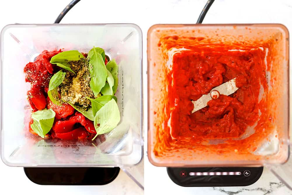 showing how to make Greek Pizza by adding roasted red pepper sauce ingredients to a blender and blending until smooth