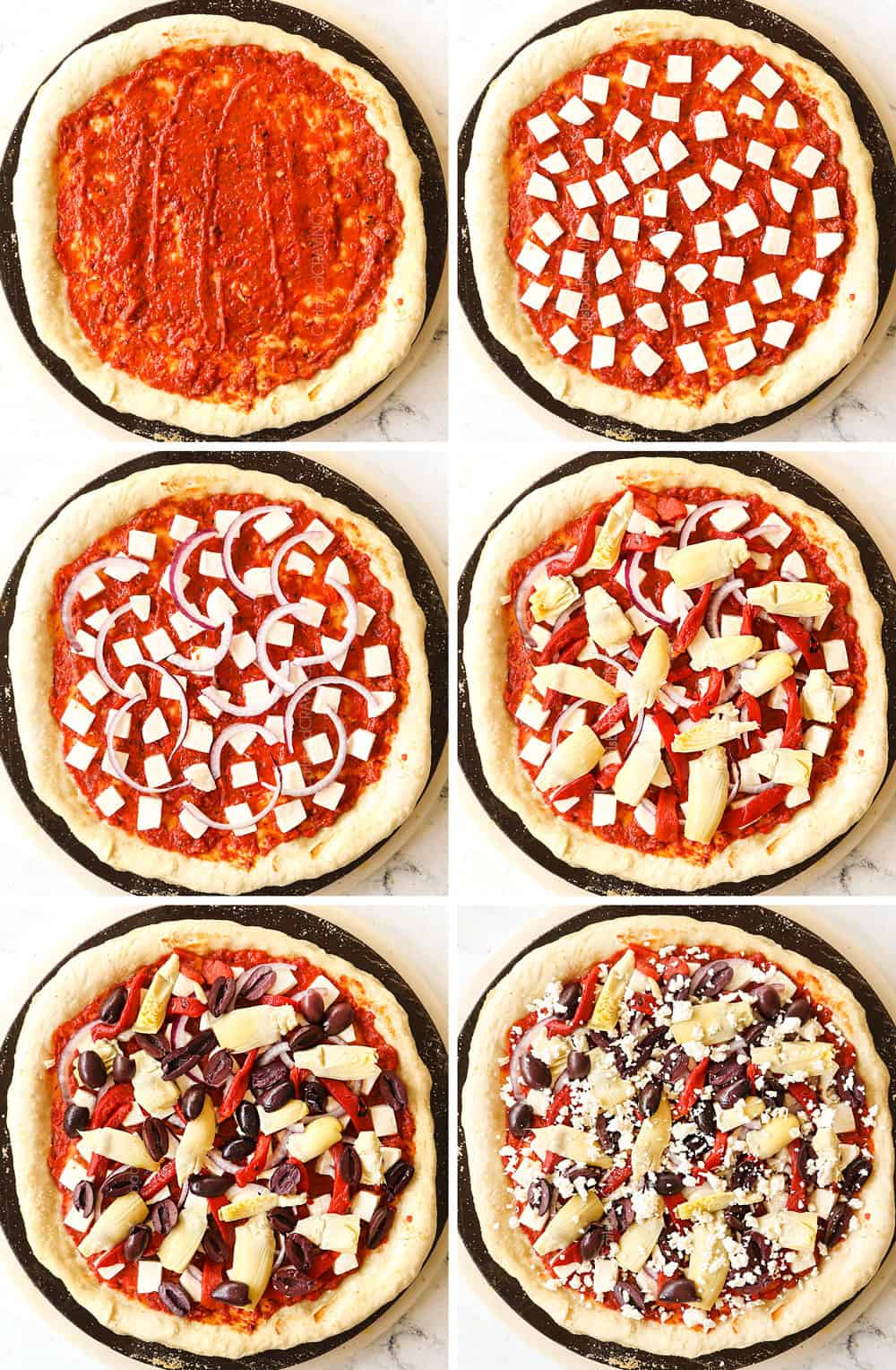 a collage showing how to make Greek PIzza by adding sauce, mozzarella, red onions, artichokes, olives, roasted red peppers and feta