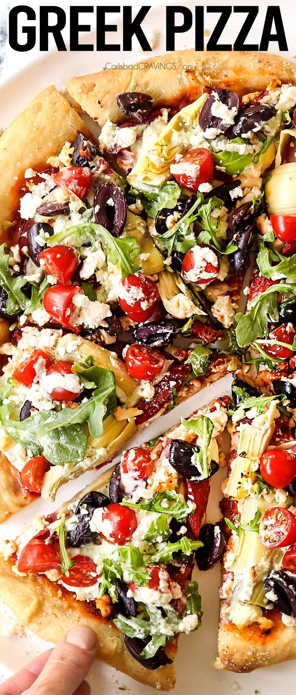 top view up close of a slice of Greek pizza