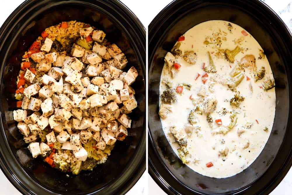 showing how to make Chicken and Rice Crockpot recipe by adding adding cubed cooked chicken and evaporated milk and cream cheese to the slow cooker