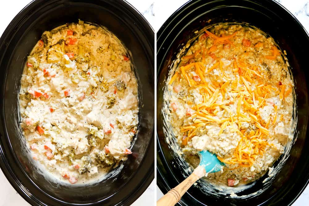 showing how to make Chicken and Rice Crockpot recipe by adding cheese to the chicken and rice in the crockpot