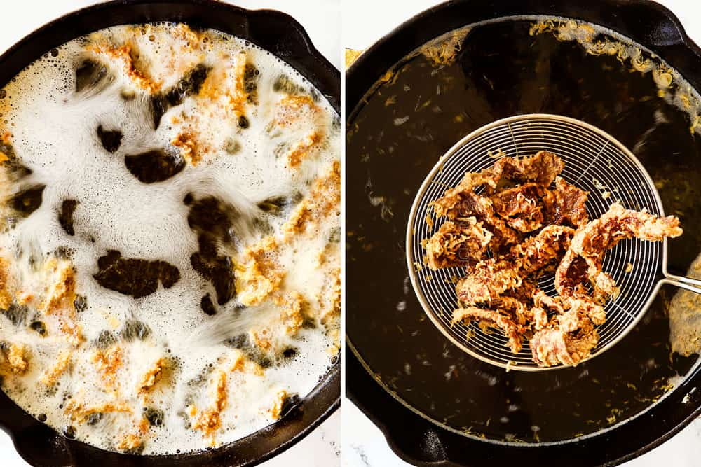 a collage showing how to make ginger beef recipe by deep frying beef in oil and then removing it with a strainer