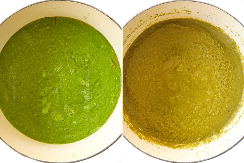 a collage showing how to make pozole verde (posole) by simmering salsa verde until dark green